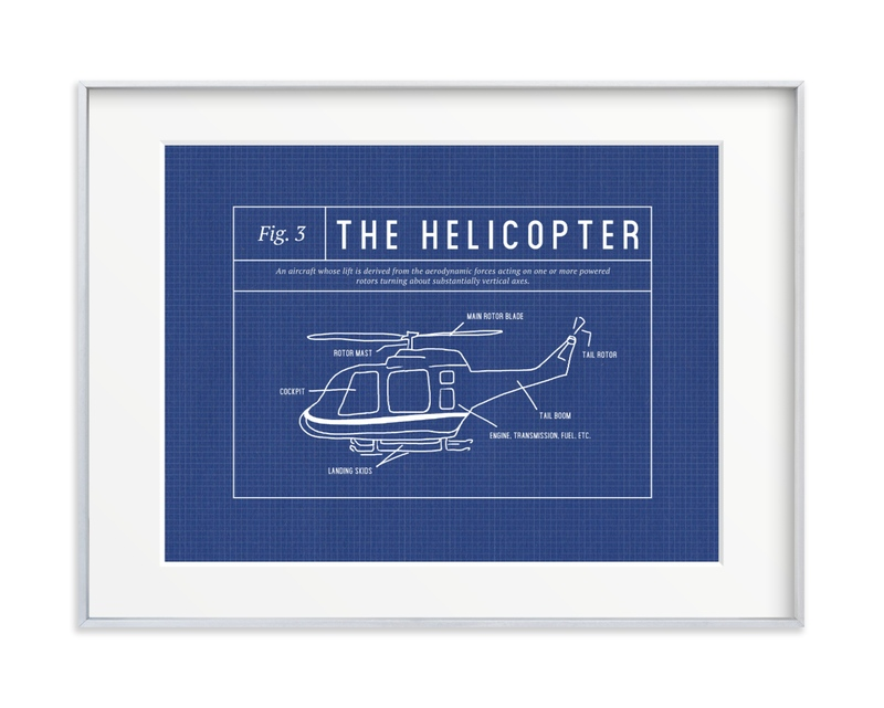 Helicopter Blueprint Children's Art Print