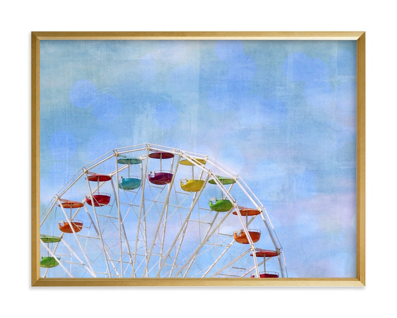 Rainbow ride. Children's Art Print
