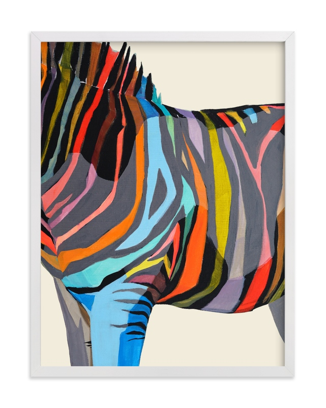 This is a colorful kids wall art by Jess Franks called Safari Stripes with standard.