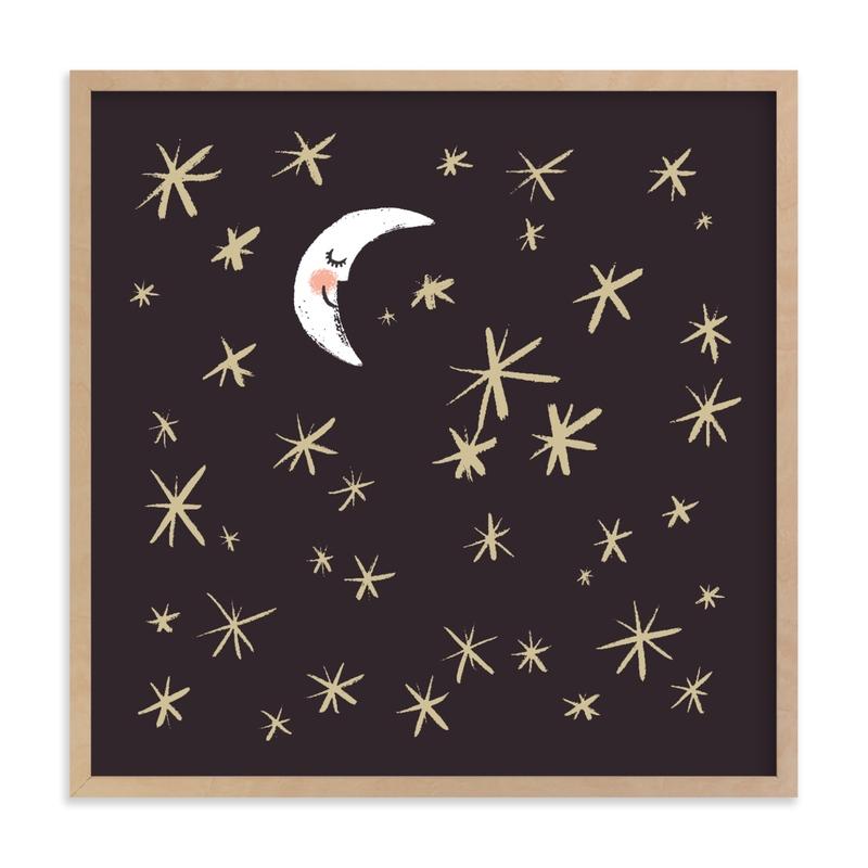 Good Night Moon and Stars Children's Art Print