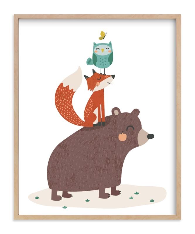 Woodland Stack Children's Art Print
