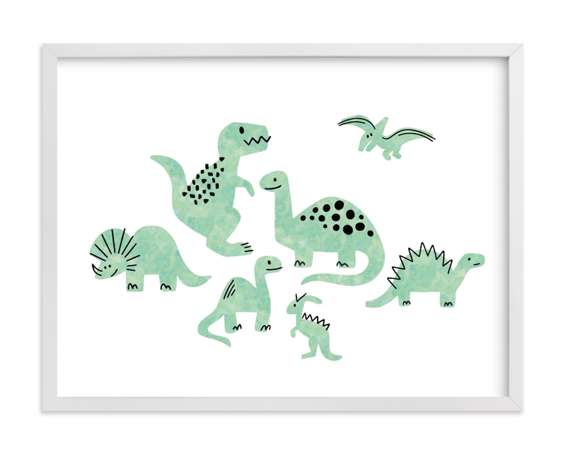 This is a green kids wall art by Jessie Steury called Darling Dinos.