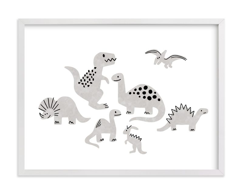 This is a black and white kids wall art by Jessie Steury called Darling Dinos.