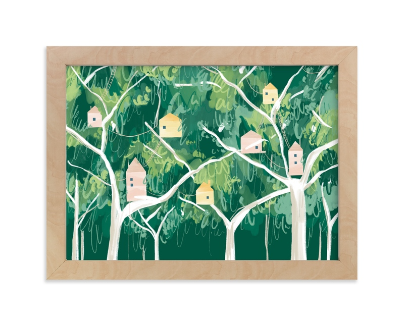 """""""Forest Village"""" - Limited Edition Art Print by Krissy Bengtson in beautiful frame options and a variety of sizes."""
