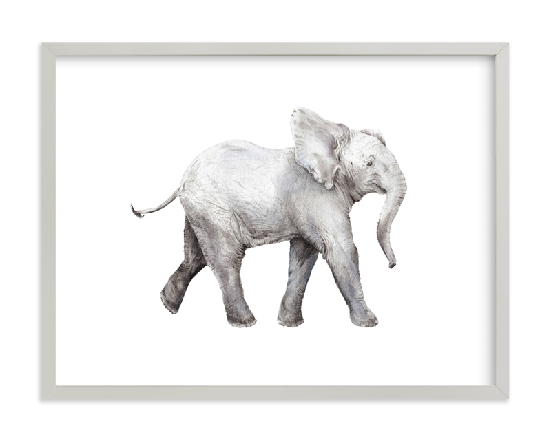 """Baby Watercolor Elephant"" - Limited Edition Art Print by Lauren Rogoff in beautiful frame options and a variety of sizes."