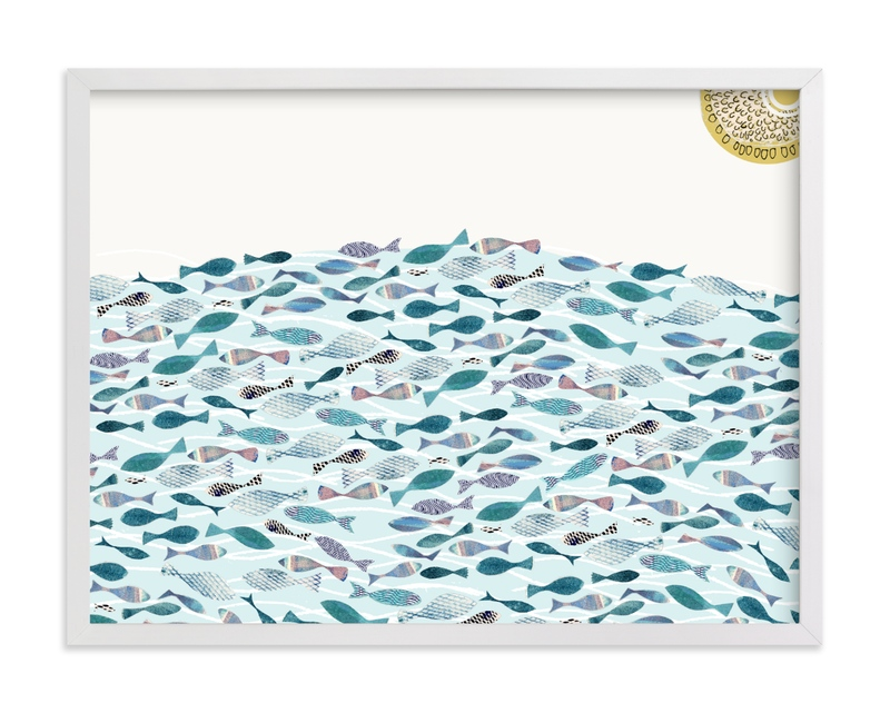 This is a blue kids wall art by Bethania Lima called Ocean Abundance.