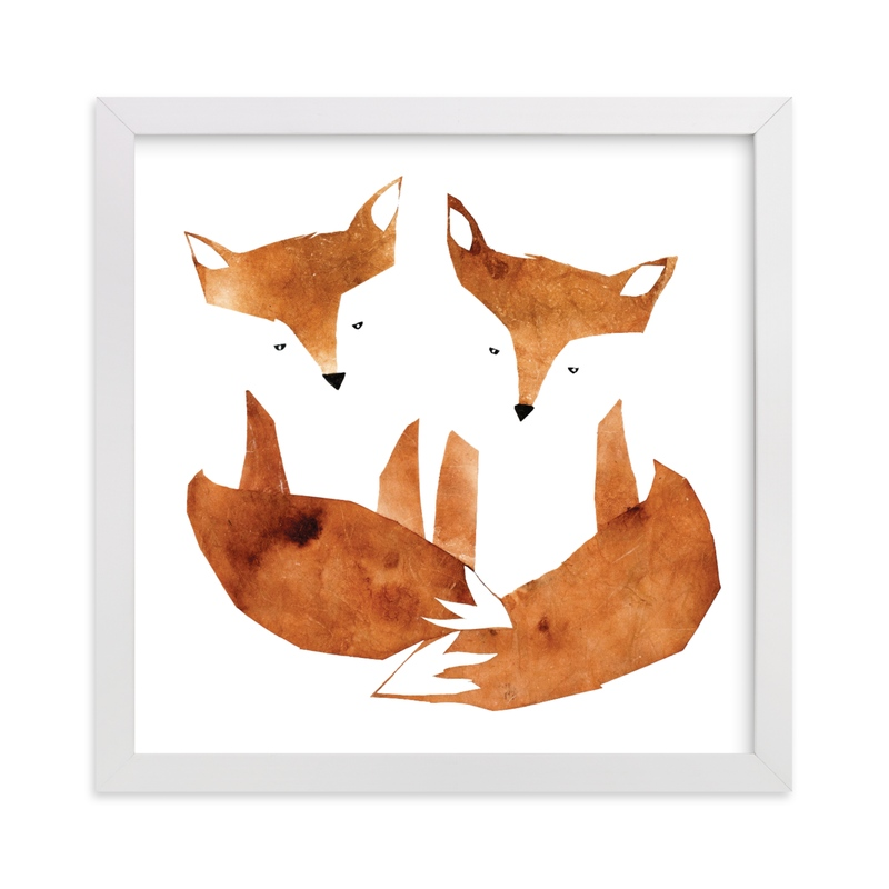 """""""Twin Foxes"""" - Limited Edition Art Print by Mia Posada in beautiful frame options and a variety of sizes."""