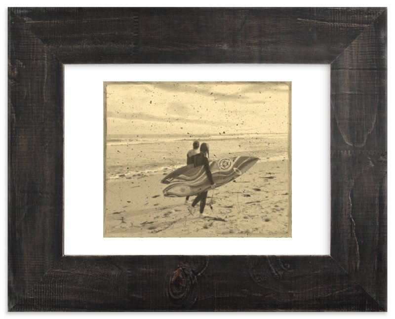 """""""Vintage Malibu : Surfer Couple 1"""" - Limited Edition Art Print by Leah Lenz in beautiful frame options and a variety of sizes."""
