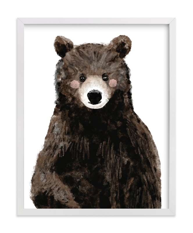 This is a brown kids wall art by Cass Loh called Baby Animal.Bear.