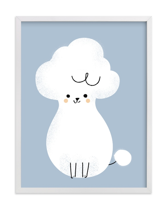 This is a blue kids wall art by Lori Wemple called Poodle.
