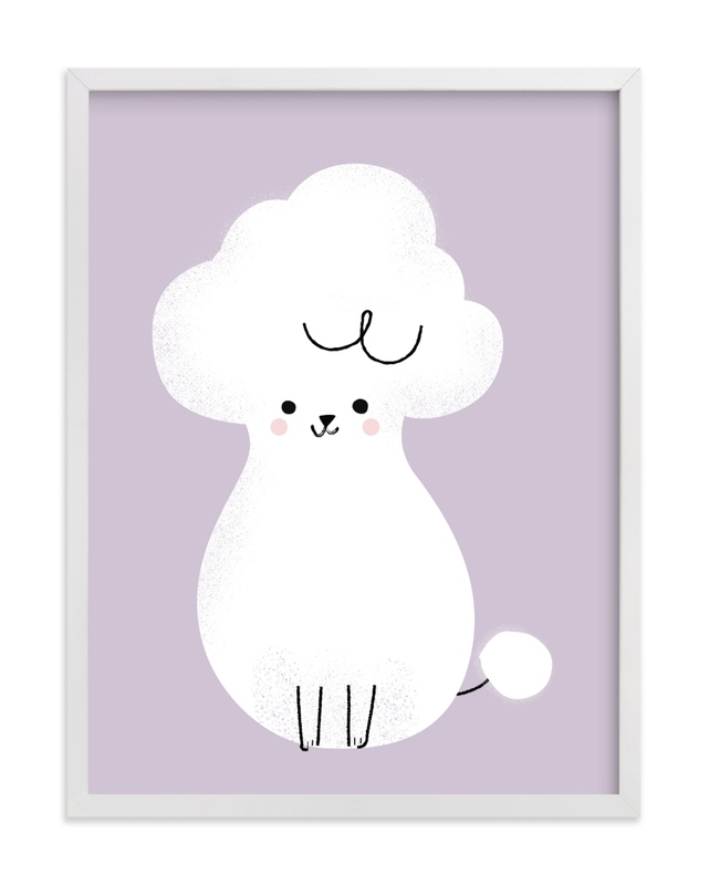This is a purple kids wall art by Lori Wemple called Poodle.