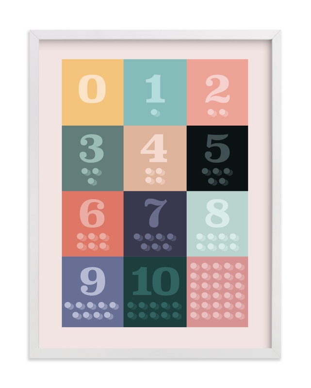 """""""1, 2 , 3, Oh I See! Count Along Numbers"""" - Limited Edition Art Print by Karyna Amador Design in beautiful frame options and a variety of sizes."""