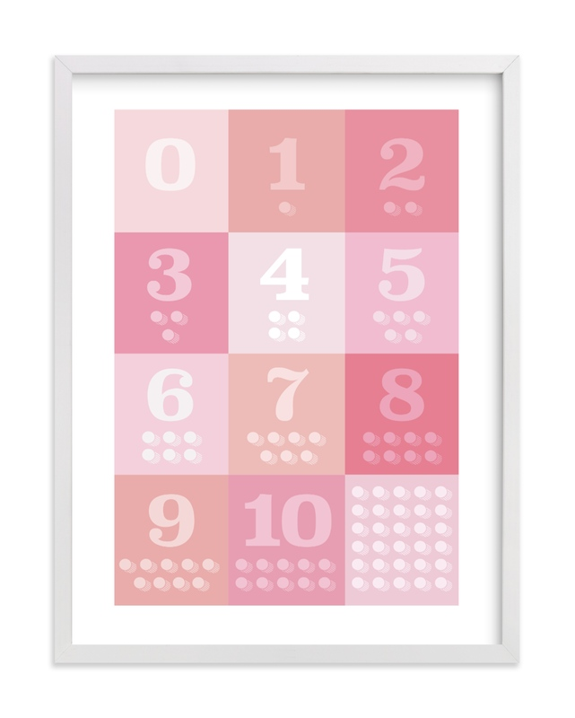 This is a pink kids wall art by Karyna Amador Design called 1, 2 , 3, Oh I See! Count Along Numbers.