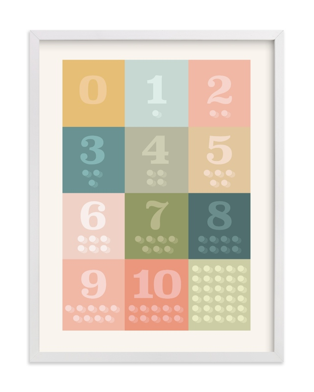This is a colorful kids wall art by Karyna Amador Design called 1, 2 , 3, Oh I See! Count Along Numbers.