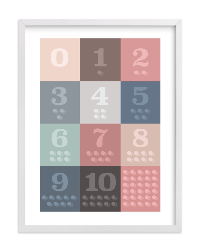 This is a brown kids wall art by Karyna Amador Design called 1, 2 , 3, Oh I See! Count Along Numbers.