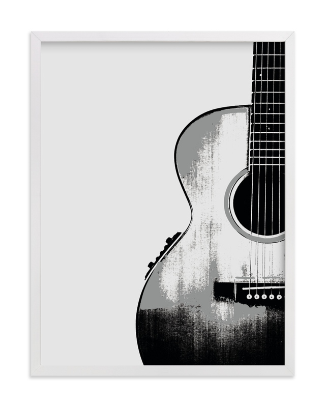 This is a white kids wall art by Char-Lynn Griffiths called Acoustic.