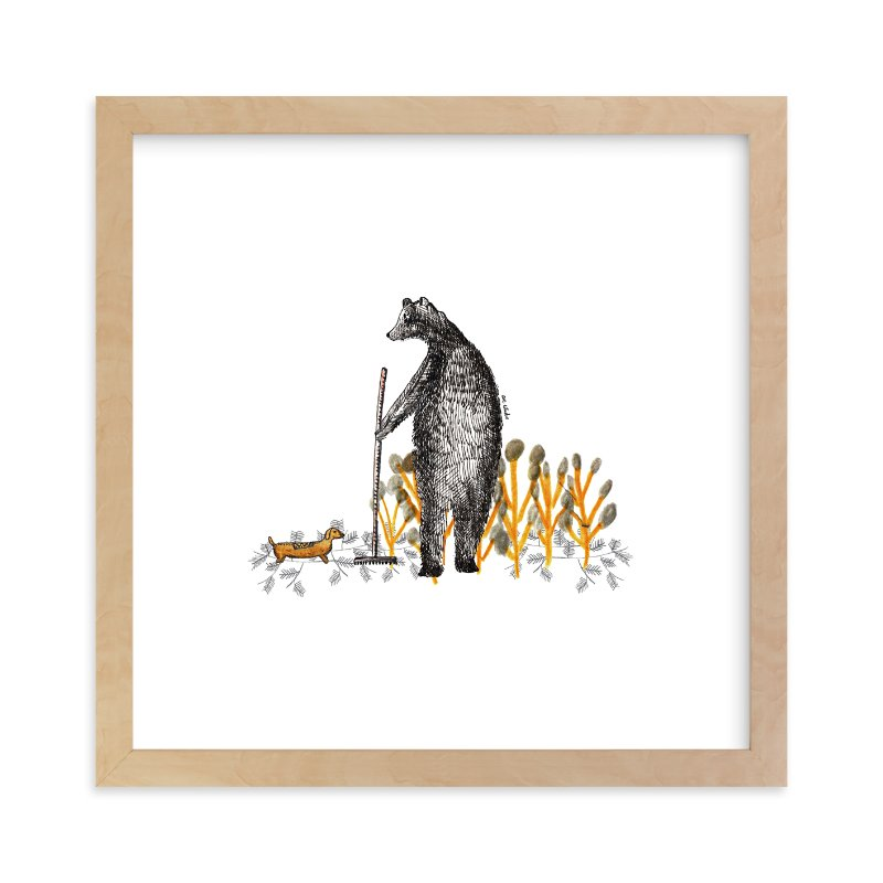 """""""Bear and autumn leaves"""" - Limited Edition Art Print by CAROLINA LEONI in beautiful frame options and a variety of sizes."""