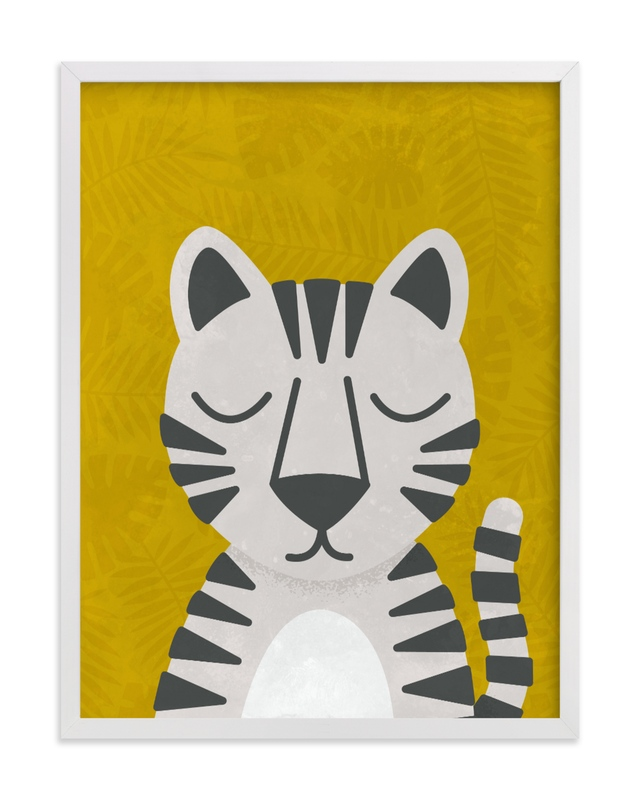 This is a yellow kids wall art by 2birdstone called White Bengal Tiger.