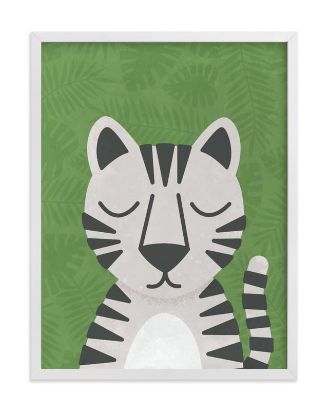 This is a green kids wall art by 2birdstone called White Bengal Tiger.