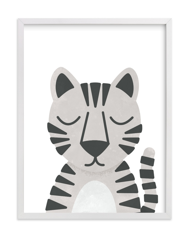 This is a black and white kids wall art by 2birdstone called White Bengal Tiger.