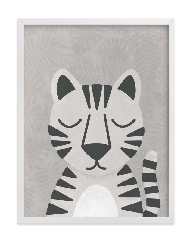 This is a white kids wall art by 2birdstone called White Bengal Tiger.