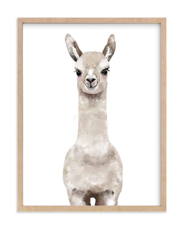 Baby Animal Llama Children's Art Print