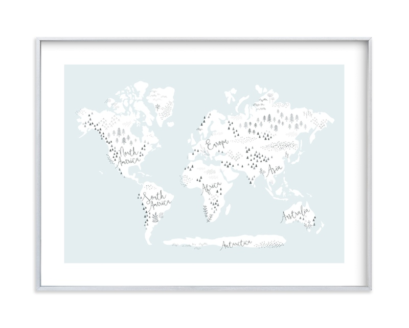 """Beautiful World Map"" - Limited Edition Art Print by Jessie Steury in beautiful frame options and a variety of sizes."