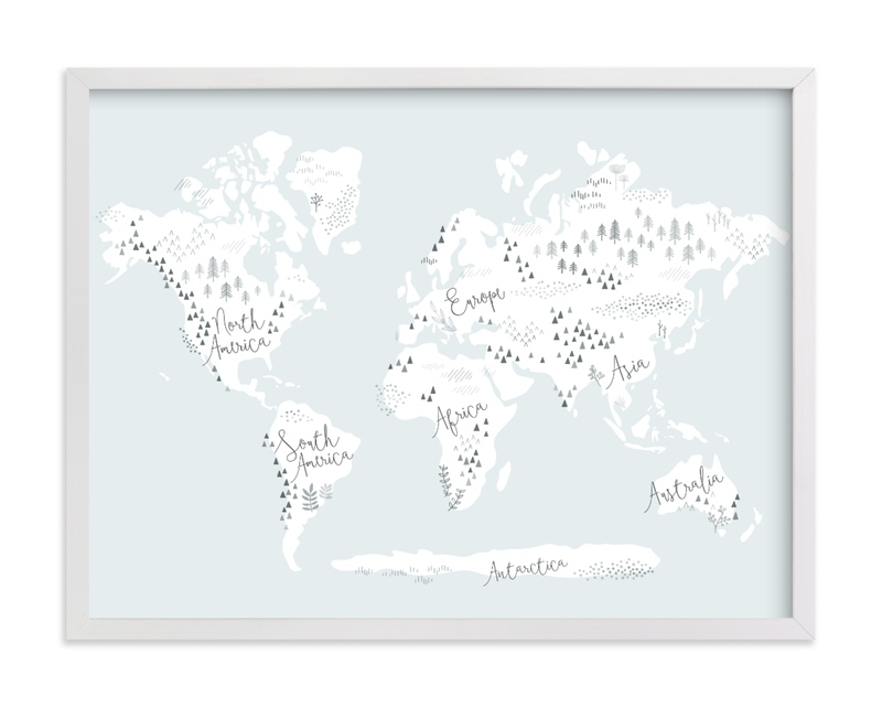 This is a blue kids wall art by Jessie Steury called Beautiful World Map.
