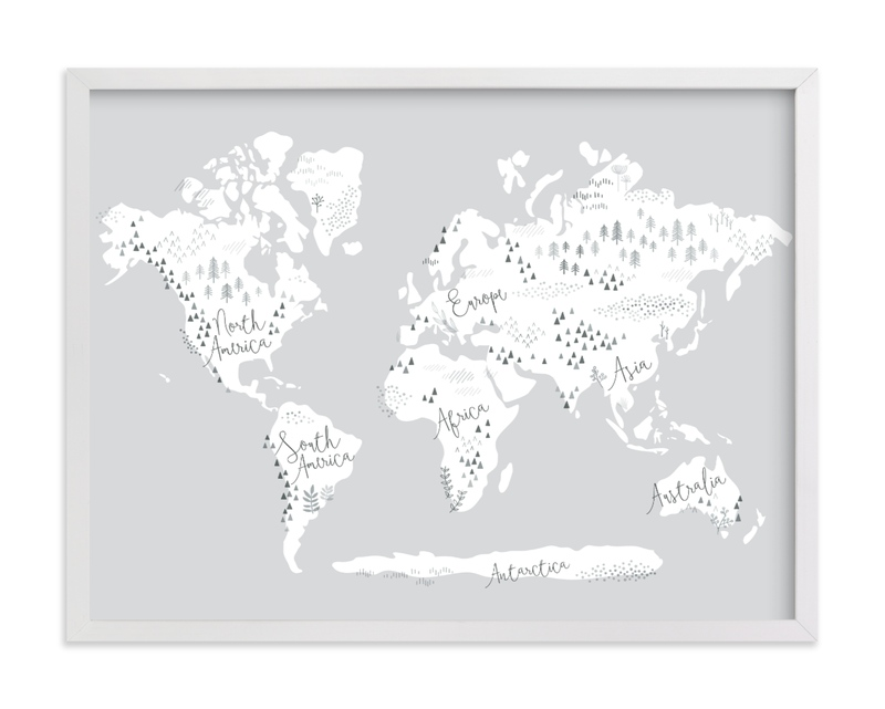 This is a black and white kids wall art by Jessie Steury called Beautiful World Map.