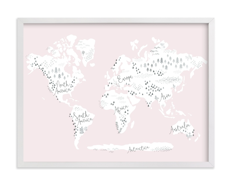 This is a pink kids wall art by Jessie Steury called Beautiful World Map.