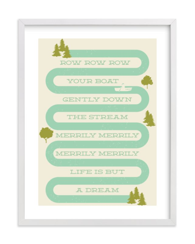 """""""Row Row Row Your Boat"""" - Limited Edition Art Print by Shiny Penny Studio in beautiful frame options and a variety of sizes."""