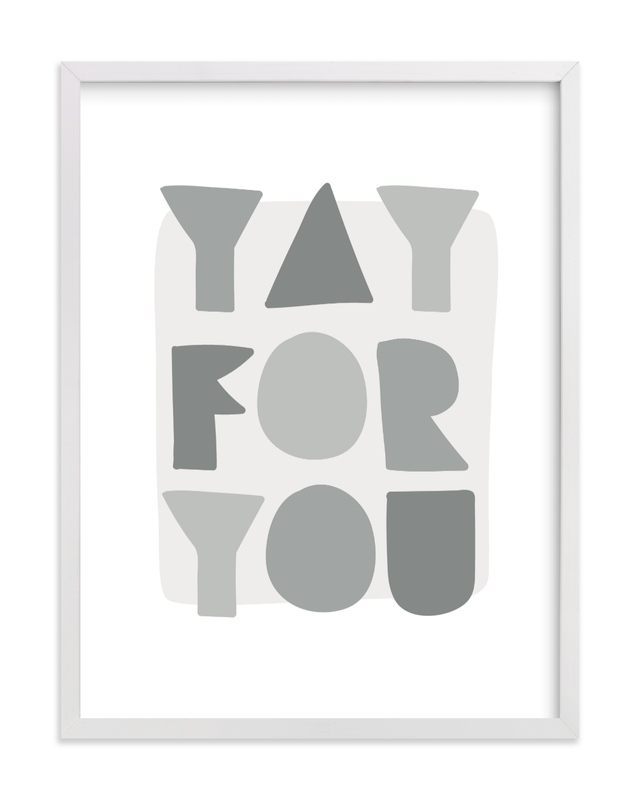 This is a grey kids wall art by Lea Delaveris called Yay for you.