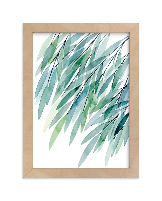 """""""Turquoise Rustling Leaves No. 1"""" - Limited Edition Art Print by Priscilla Lee in beautiful frame options and a variety of sizes."""