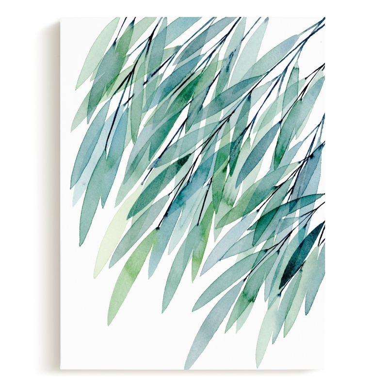 Turquoise Rustling Leaves No. 1 Children's Art Print