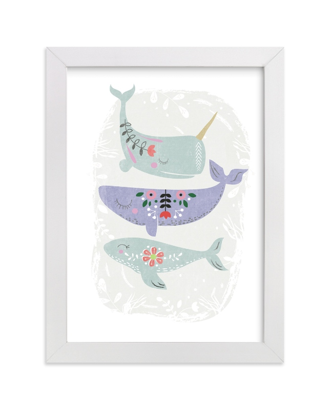 """Folk Whales"" - Limited Edition Art Print by Hannah Williams in beautiful frame options and a variety of sizes."