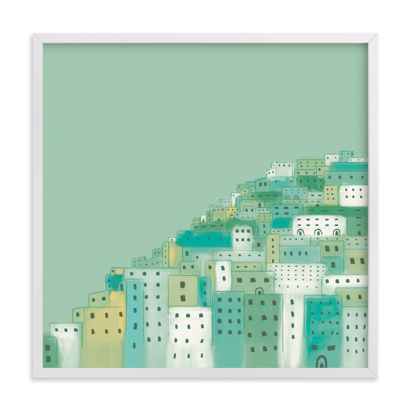 This is a green kids wall art by Laura Mitchell called Positano Houses.