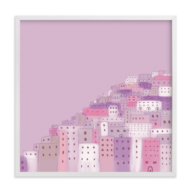 This is a purple kids wall art by Laura Mitchell called Positano Houses.