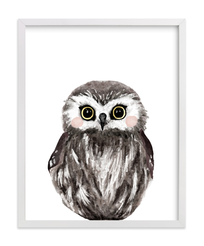 This is a brown kids wall art by Cass Loh called Baby Animal Owl.
