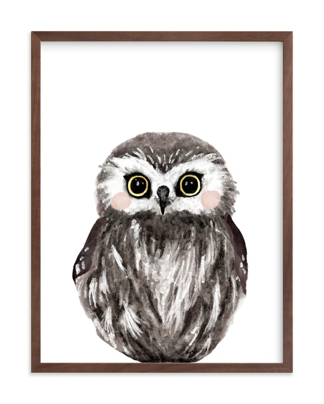 Baby Animal Owl Children's Art Print
