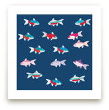 A group of tetras fish by Aree Sukiam