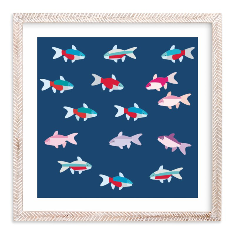 """A group of tetras fish"" - Limited Edition Art Print by Aree Sukiam in beautiful frame options and a variety of sizes."
