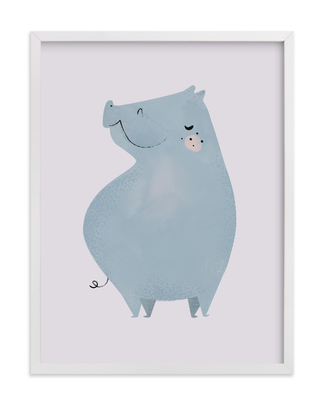 This is a purple kids wall art by Lori Wemple called Hippo.