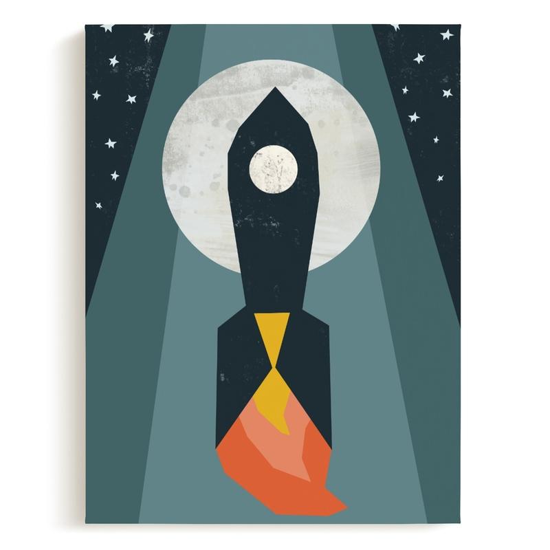 Rocket to the Moon Children's Art Print