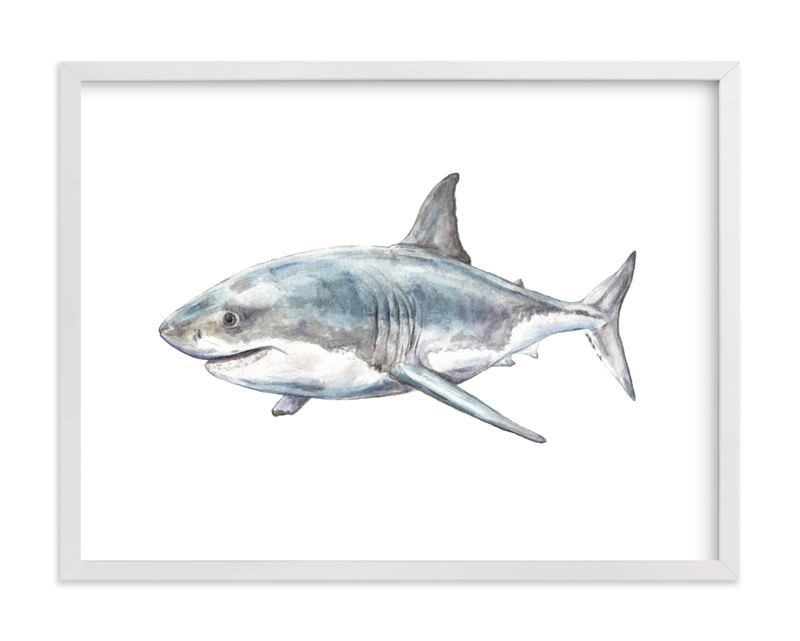 This is a blue kids wall art by Lauren Rogoff called Shark in Smiling Waters.