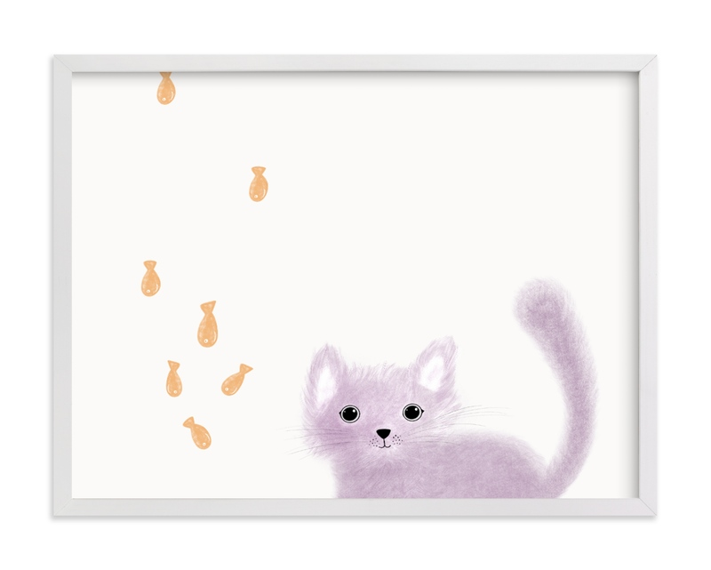 This is a purple kids wall art by Maja Cunningham called It's Raining.