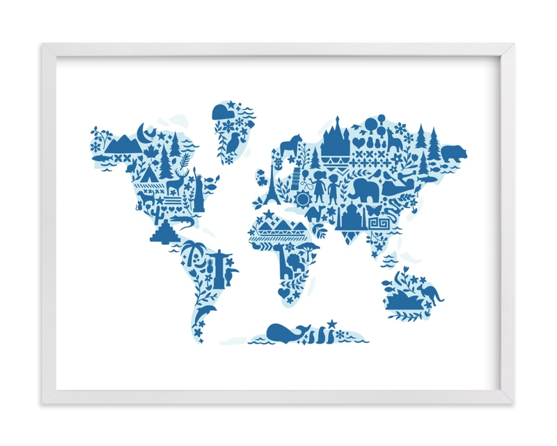 """""""Little Big World Map"""" by Jessie Steury in beautiful frame options and a variety of sizes."""