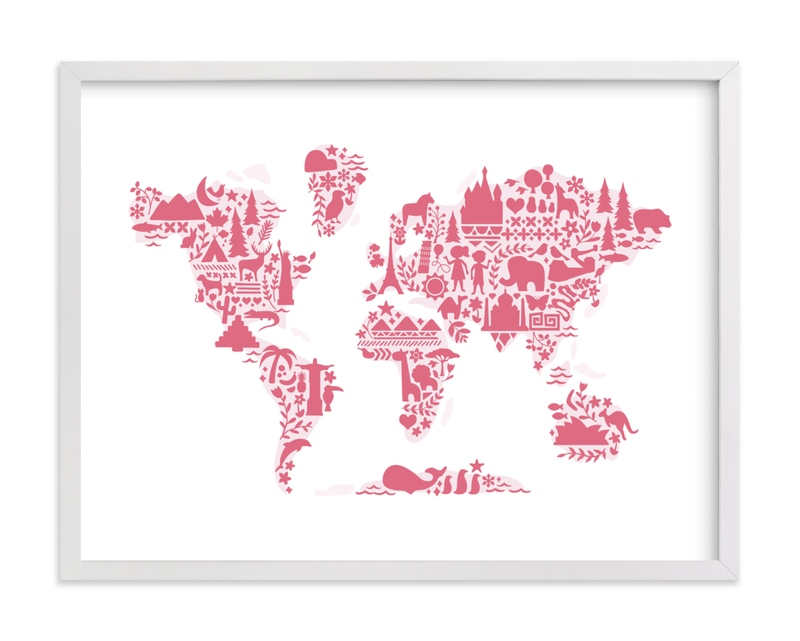 This is a pink art by Jessie Steury called Little Big World Map with standard.