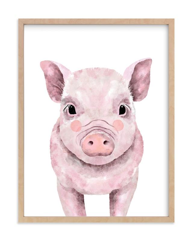 Baby Animal Pig Kids Open Edition Non-Custom Art Print