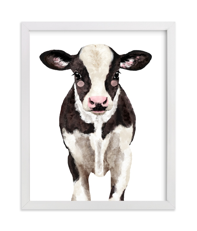 This is a white art by Cass Loh called Baby Animal Ox.