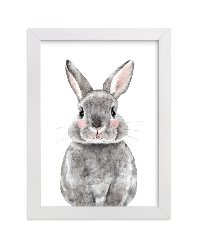 This is a white art by Cass Loh called Baby Animal Rabbit.